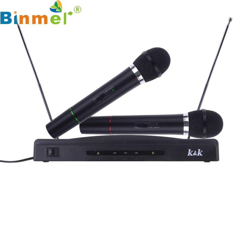 Factory Price Binmer Professional Wireless Microphone System Dual Handheld + 2 x Mic Cordless Receiver 51119 Drop Shipping factory price high quality binmer 3 0 stereo bluetooth wireless headset headphones with call mic microphone drop shipping