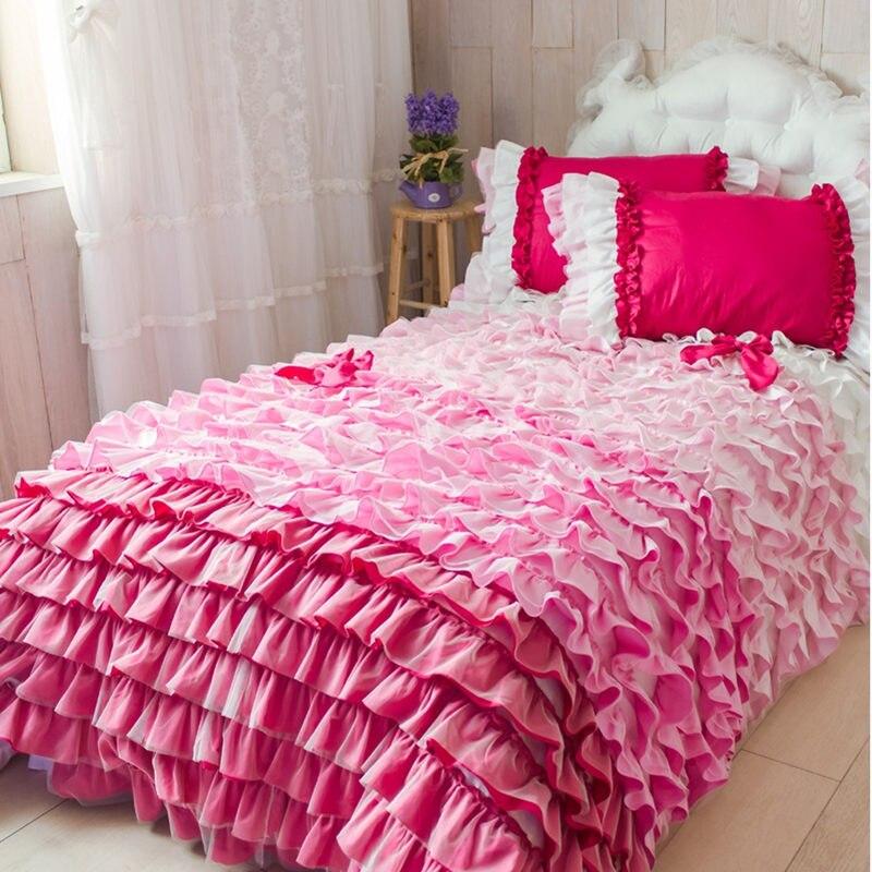 Européen de luxe gâteau couches ensemble de literie arc-en-ciel à volants housse de couette couvre-lit romantique mariage décoration literie dentelle drap de lit