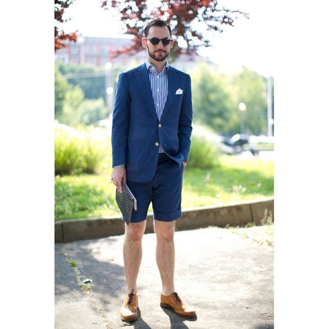The latest jacket design blue <font><b>men's</b></font> <font><b>suit</b></font> <font><b>shorts</b></font> casual summer beach 2 piece set Tuxedo Terno Masculino (jacket + pants) image