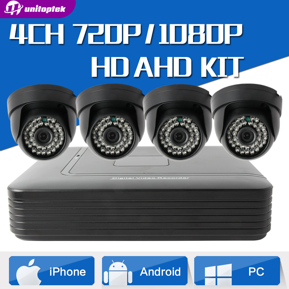 720P 4CH AHD DVR Security Camera System Kit 1.0MP Home Indoor Dome CCTV System Kit 4 Channel Surveillance AHD Camera System home security systm 1080p ahd cctv camera kit 4 channel ahd dvr 4pcs outdoor ir night 2 0mp full hd camera ahd surveillance kit