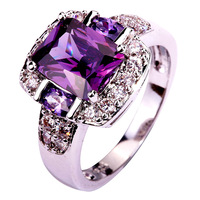 lingmei Fashion Jewelry Amethyst White Topaz AAA Silver Ring Size 7 8 9 10 Charming Women Party New Gift Wholesale Free Shipping