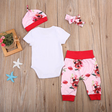 Newborn Baby Girls Floral Short Sleeve Hospital Coming Home Outfit Set