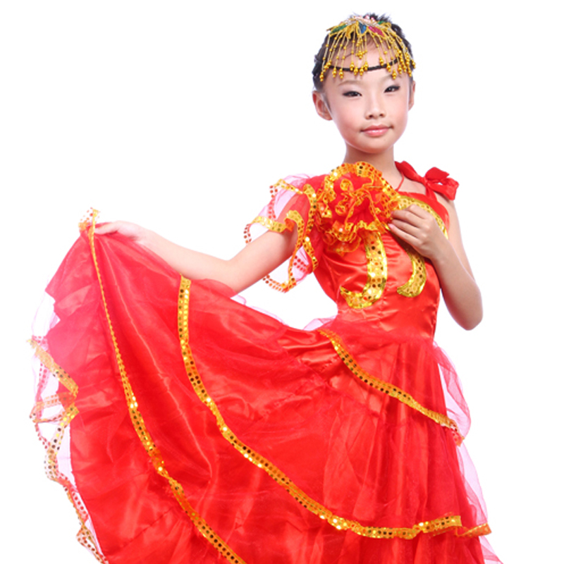 Kid's Flamenco Dance Dress Opening Dance Costume Girl Flamenco Dancing Clothes Spanish Paso Doble Dance Costume for kid