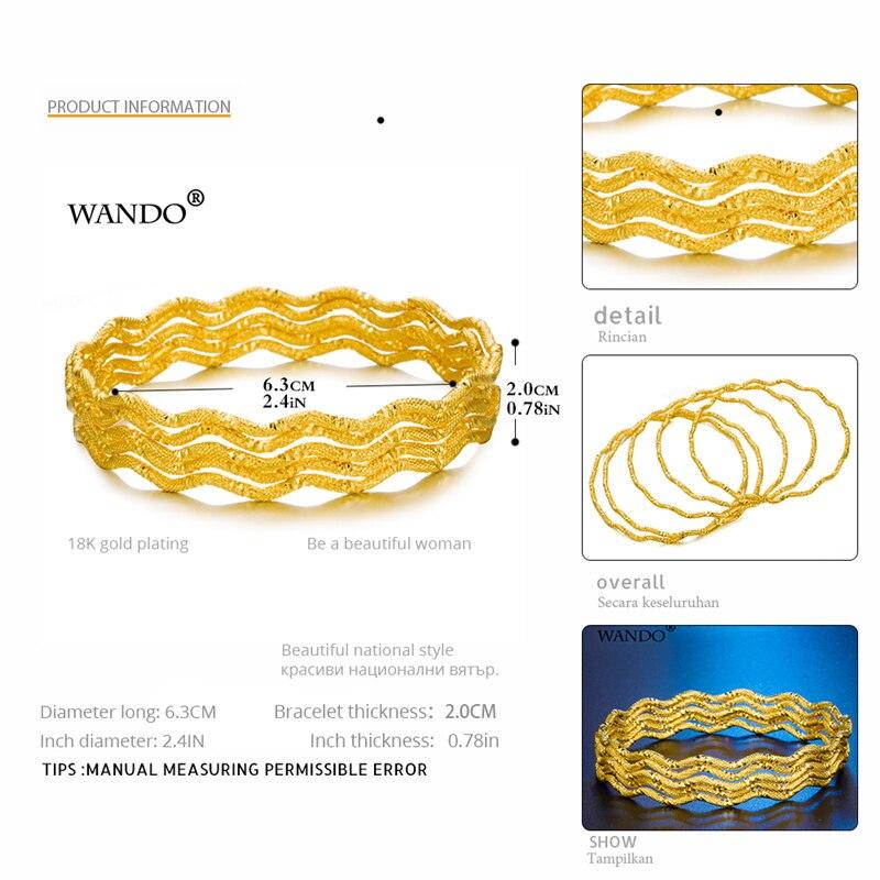 WANDO-5-piezas-al-por-mayor-Dubai-brazaletes-de-oro-para-las-mujeres-Men18k-Color-oro