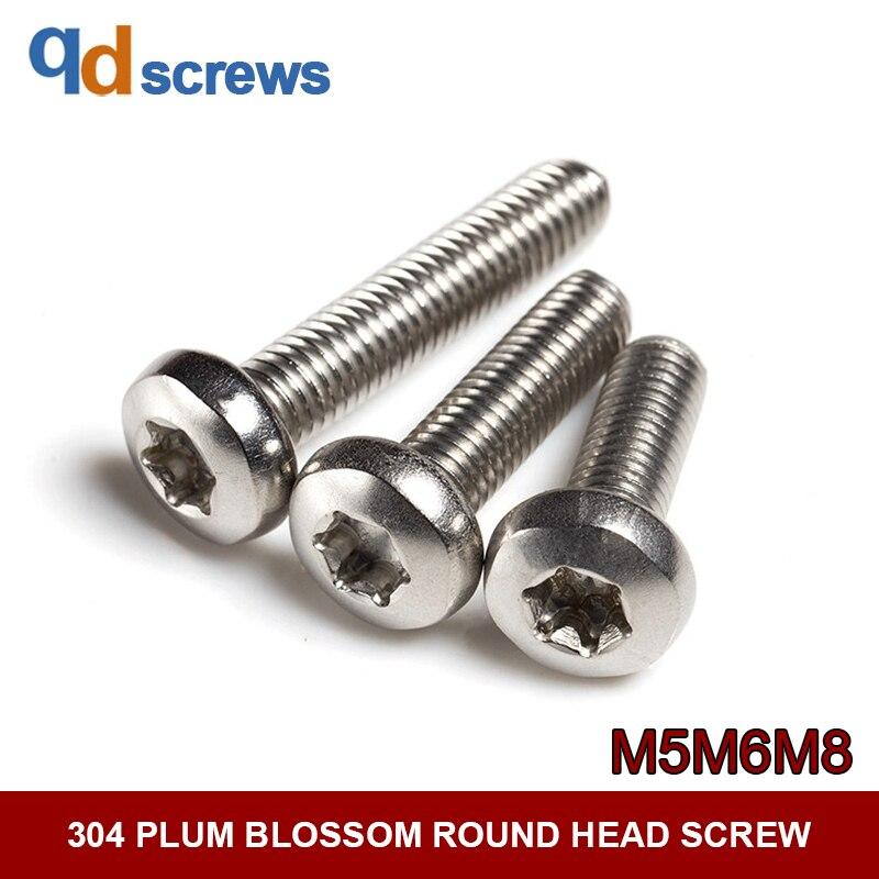 304 plum blossom rodada seis lobo-cabeça M5M6 GB2672 parafuso de aço inoxidável ISO 14583 JIS B 1107.2