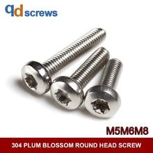 304 M5M6M8 plum blossom round six-lobe head stainless steel screw GB2672 ISO 14583 JIS B 1107.2