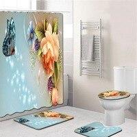 Elegant Flowers Pattern Shower Curtain Mat Set Non Slip Rugs Carpet for Bathroom Toilet Bath