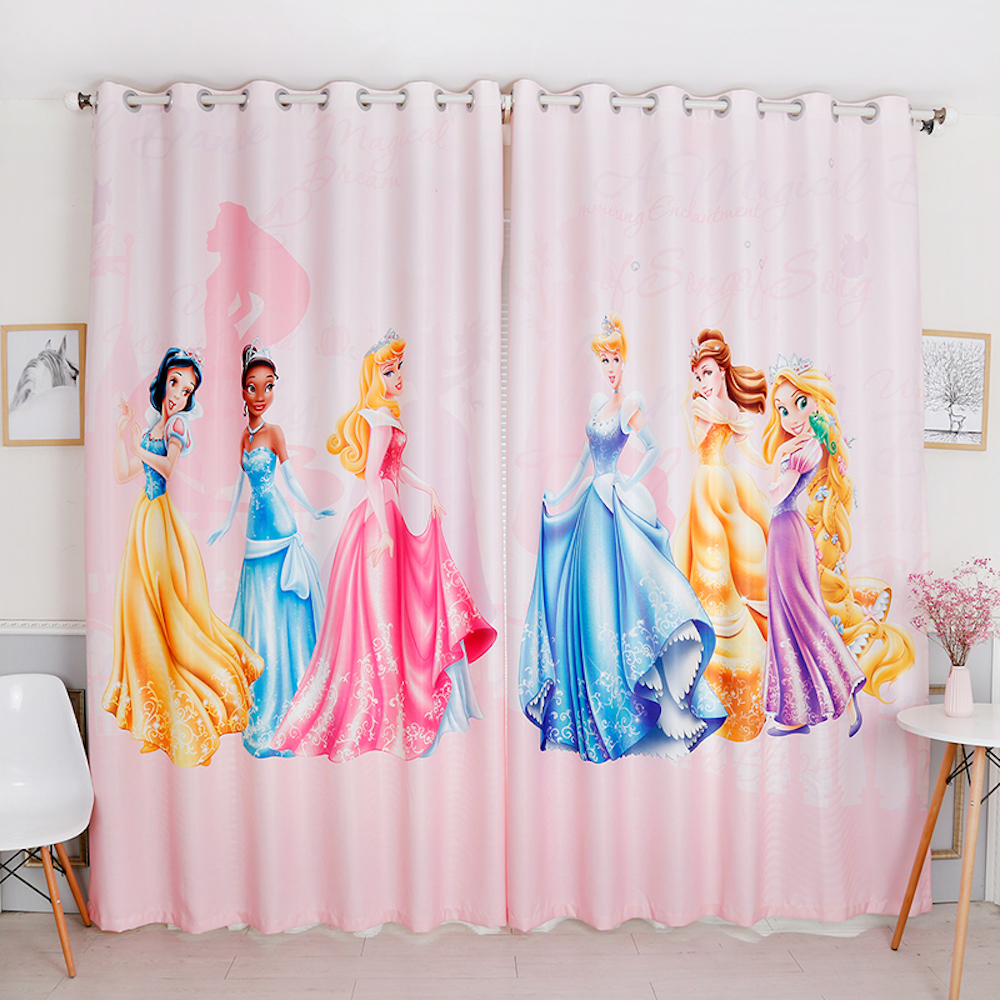 Custom Made 2x Grommet Window Drapery Curtain Nursery Kid Children Room Window Dressing Tulle 200x260cm Princess Lady Cartoon