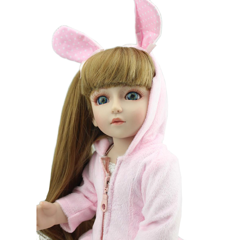18 Realistic Baby Dolls SD BJD DIY Toys American Girl Handmade Princess Dolls with Pink Clothes and Rabbit Ears for Girl Gifts 1pcs black sunglasses for american girl dolls as for bjd blyth dolls eyeglasses suit face width about 8cm dolls