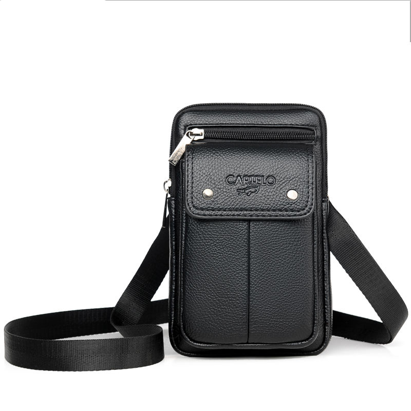 Men's Shoulder Bag Soft PU Material Trendy Fashion Casual Simple Wind Multi-function Large Capacity Design