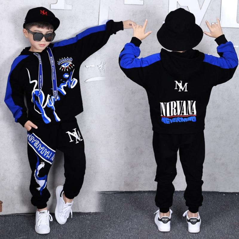 069a8fac1 Conjunto de moda niños traje niños Otoño de 2019 trajes Hip Hop 2 piezas  conjuntos de algodón Unisex rojo azul Parkour chico ropa carta impresión