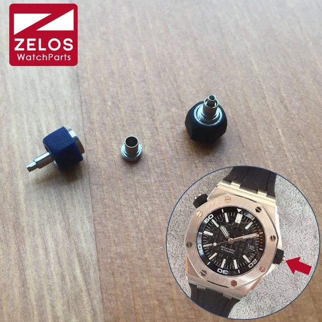 6.0mm rubber steel hexagon waterproof screw push watch crown For men AP ROO royal-oak-offshore diver watch parts 15703ST  26170