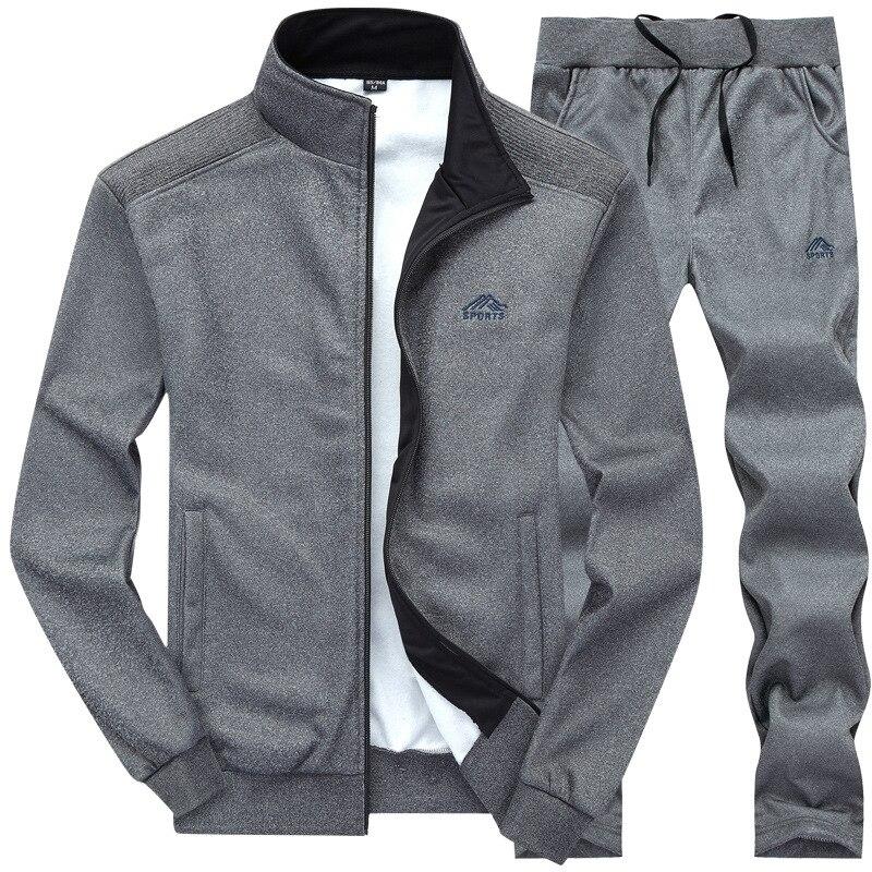 M-4XL Men Tracksuits Solid Color Sportswear 2019 Spring Autumn Men's Jacket + Pants Tracksuit Male Sweatshirt Casual 2 Piece Set