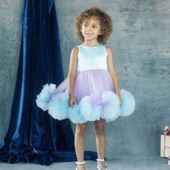 New Puffy Ruffles Purple and Blue Flower Girl Dresses for Dancing Party Christmas Ball Gown Kids Baby Birthday Gown