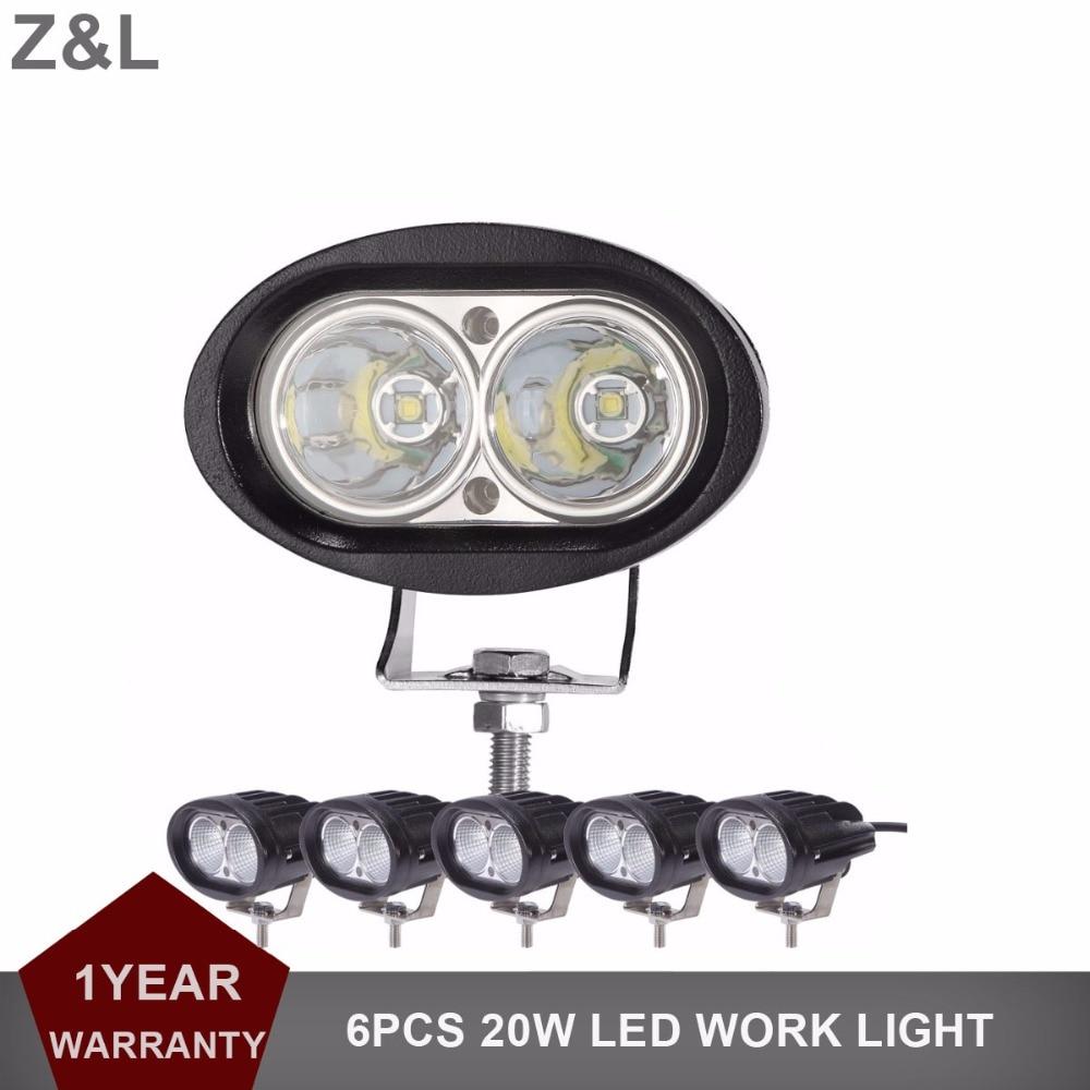 6 шт. 4 20 Вт овальный светодиодный свет работы Offroad противотуманных фар авто грузовик ATV прицеп мотоцикла велосипед 4WD AWD 4x4 внедорожник 12 В 24 В ...