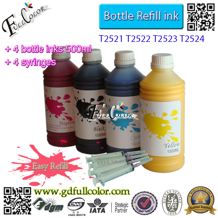 ФОТО Free shipping 500ml Bottle T2521-4 Sublimation Ink For WorkForce WF-3620/WF-3640/WF-7110/WF-7610/WF-7620 All In One Printer