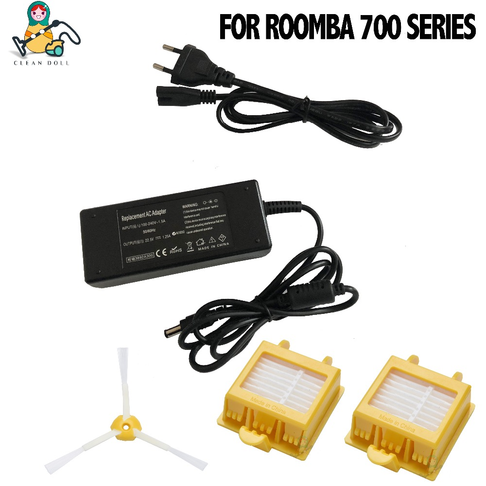 CLEAN DOLL Replacement power adapter charger for iRobot Roomba 700 Series 760 770 780 790 vacuum cleaner power adapter charger bristle brush flexible beater brush fit for irobot roomba 500 600 700 series 550 650 660 760 770 780 790 vacuum cleaner parts