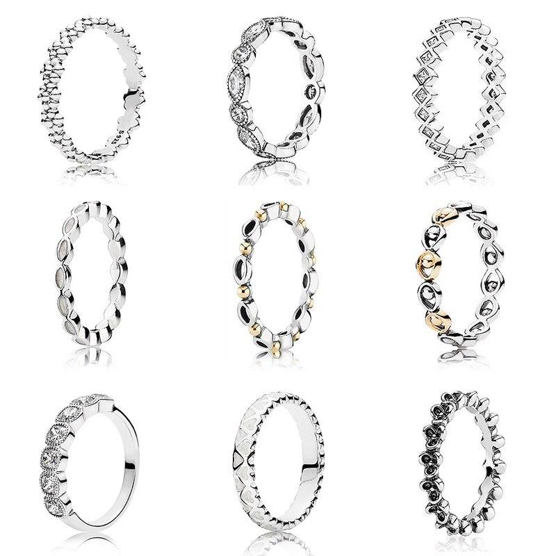 GoFly Rings Two Colors Fashion Elegant Original 925 Sterling Silver Dazzling Daisy Flower Ring Clear CZ Wedding Jewel