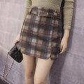 Moda Inverno Das Mulheres da Manta Saias 2017 Outono Nova Senhora Saias de Cintura Alta Casual Mini Saias Curtas Saias Slim