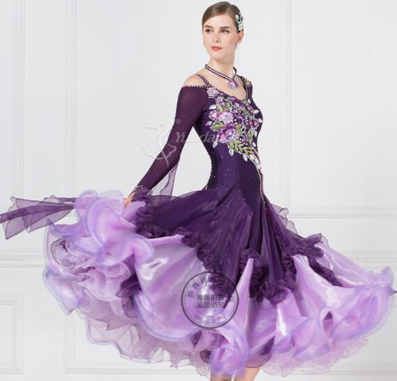 High Quality Modern Waltz Tango Performing dress , Ballroom Competition Dance Dresses with beads