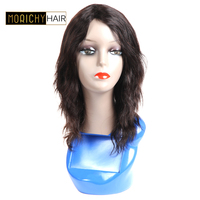 Morichy Hair Short Wavy Human Hair Wigs With Bangs Brazilian Remy Human Hair Machine Made Wigs For Black Women Natural Color