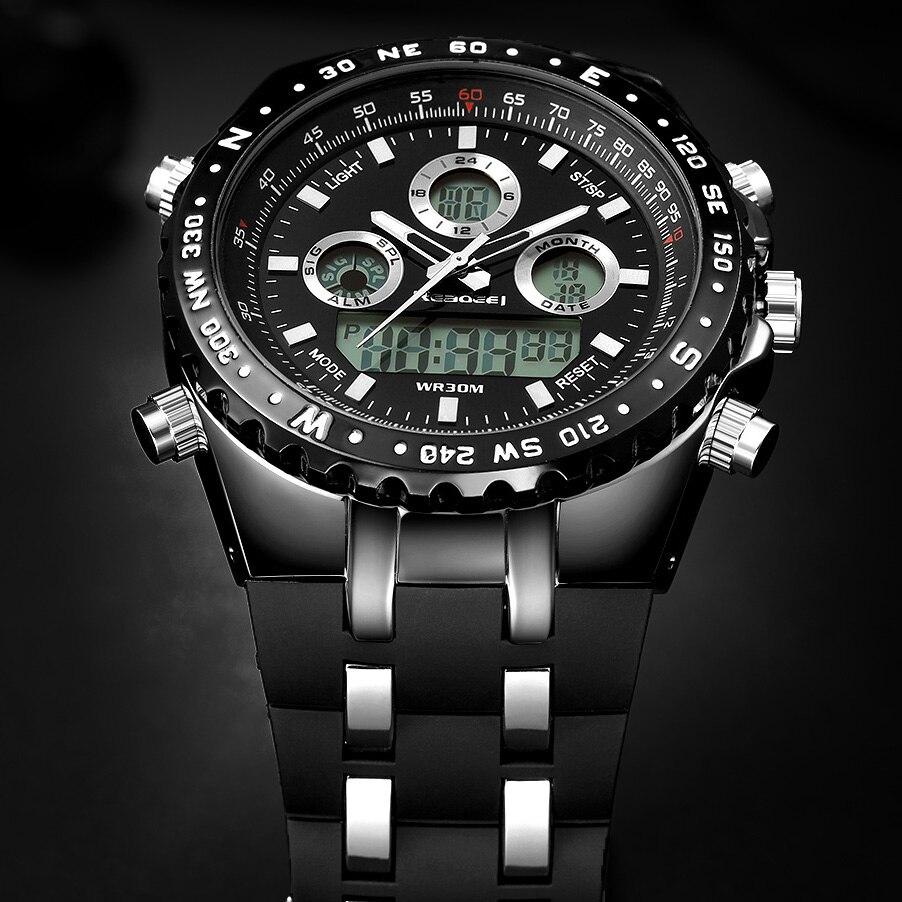 Montre Hommes Mode Sport Quartz Horloge Hommes Montres Top Marque De Luxe Led Numérique Étanche Noir Montre-Bracelet Relogio Masculino