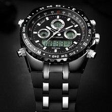 Montre à Quartz pour hommes, montre de Sport, marque de luxe, numérique Led, étanche, noire