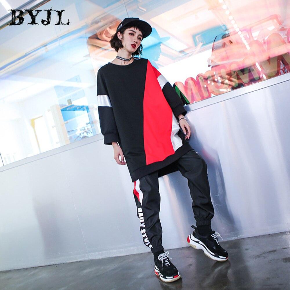 Harajuku T-shirt à manches longues femme noir/rouge couture T-shirt femmes longs hauts T-shirt Style coréen lâche Streetwear SZ6285