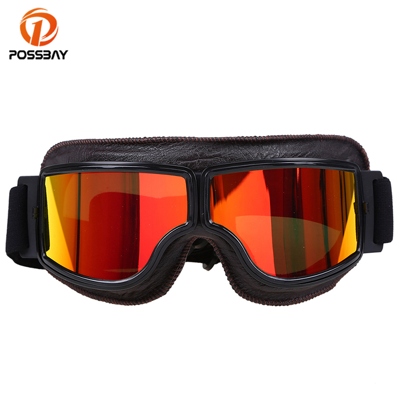 POSSBAY Motorcycle Goggles Glasses Helmet Leather Man Women Motorcycle Skiing Outdoor Sports Eyewear Goggles Retro Glasses