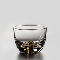 Hand blown Hidden Mount Fuji Kungfu Tea Cup Heat resistant Glass Art of glass wine cup Shot Glass Kung fu teaware Master Cup
