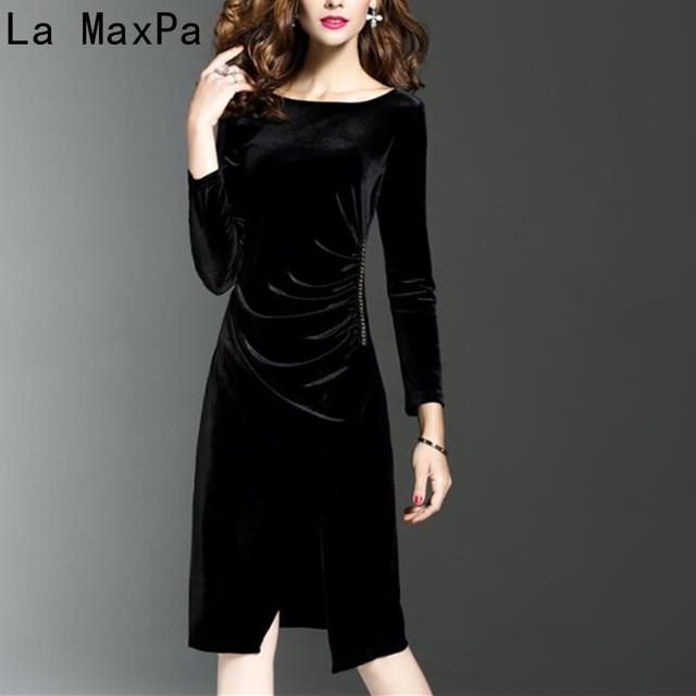 La Maxpa Women Green Velvet Dresses Plus Size Elegant Autumn Winter