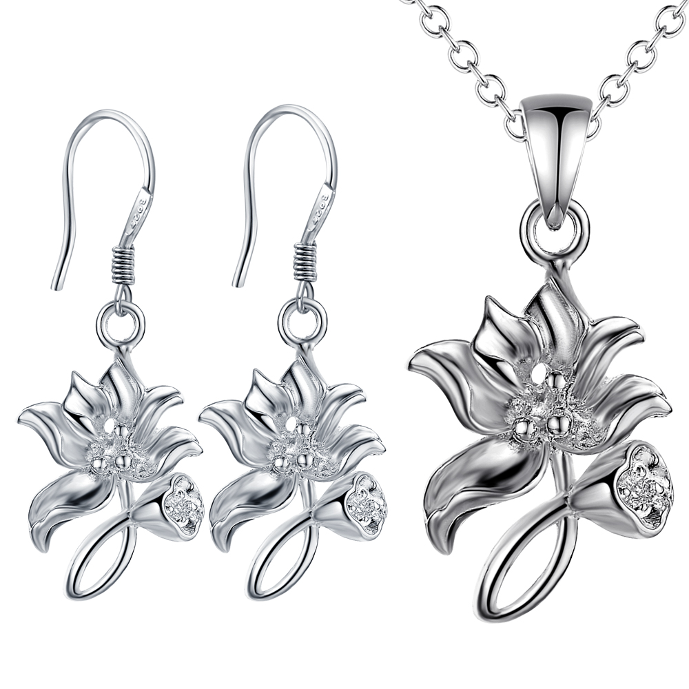 Beautiful design silver flower pendant necklace Earrings Set Fashion Jewelry wedding gift for woman good quality ST069