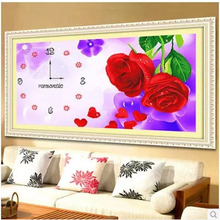 New Rose Flowers Diamond Painting Clocks Diamond Embroidery Cross Stitch Kit DIY Wall Decorative Clock Home Decoration
