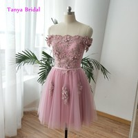 Off Shoulder Bridesmaid Dresses Knee Length Lace Up Applique Beading Hand Flower Dusty Rose Ball Gown Dress with Sash