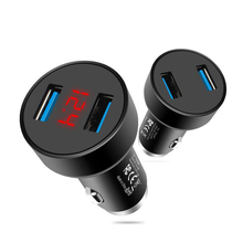 Автомобильное зарядное устройство с двумя USB портами и цифровым светодиодным дисплеем, 5 В, 3,1 А