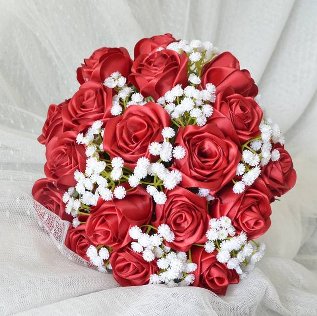 Bouquet Sposa Rosso.Spose Bouquet Handmade Della Rosa Del Raso Fiori Bouquet Da Sposa
