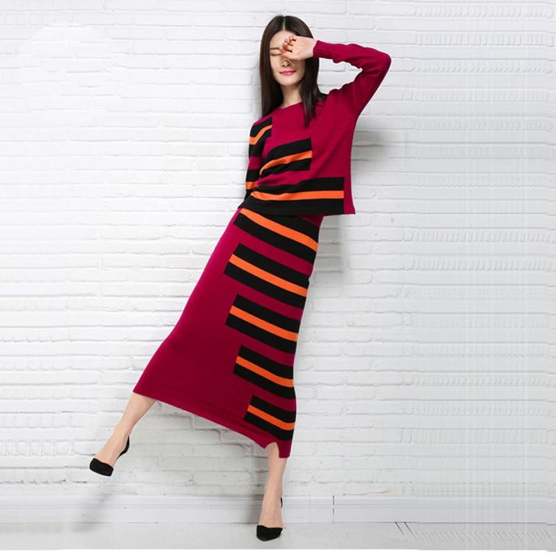 2019 femmes automne et printemps robe en cachemire rayé Style o-cou longue robe dame décontracté robes tricotées livraison gratuite KWA91