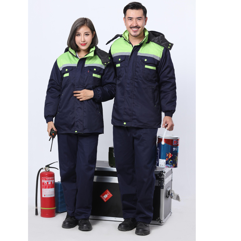 2018 Winter thickening Reflective coveralls Removable liner Men Women Coveralls hooded R ...
