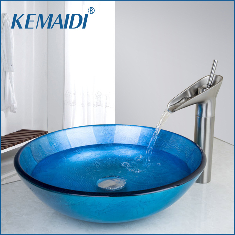 KEMAIDI Round Blue Tempered Glass Wash Basin Vessel Sink With Nickel Brushed Bathroom Faucet Hand Painted Glass Sink Set fashion style round hand painted artistic victory vessel wash basin tempered glass sink bathroom basin