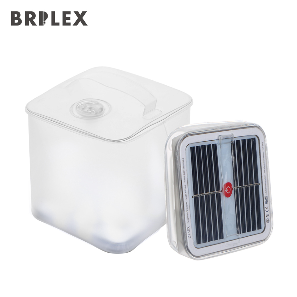 Brilex Waterproof Handhold Inflatable Balloon Camping Led Lantern Solar Collapsible Light Folding Telescopic Airbag Light