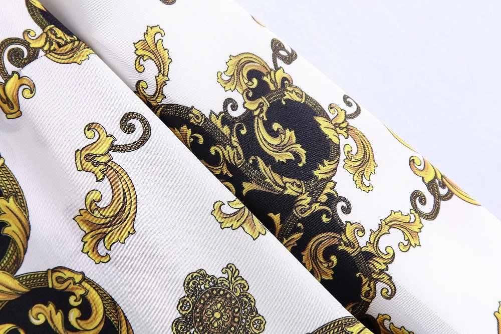 Za Women Print Shirt Flowing Pleated Dress Za Loose Print Dresses Vestidos Women Clothing Dress