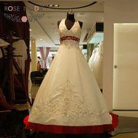 Роскошные Вышивка Холтер белый и красный линия свадебное платье 2176 бисером Вышивка Свадебное Платье Vestidos De Noiva реальные фотографии