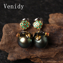 ФОТО venidy 2017 new 10-11mm black tahitian pearls drop earrings  925 silver pearl fine jewelry brand luxury sterling-silver-jewelry