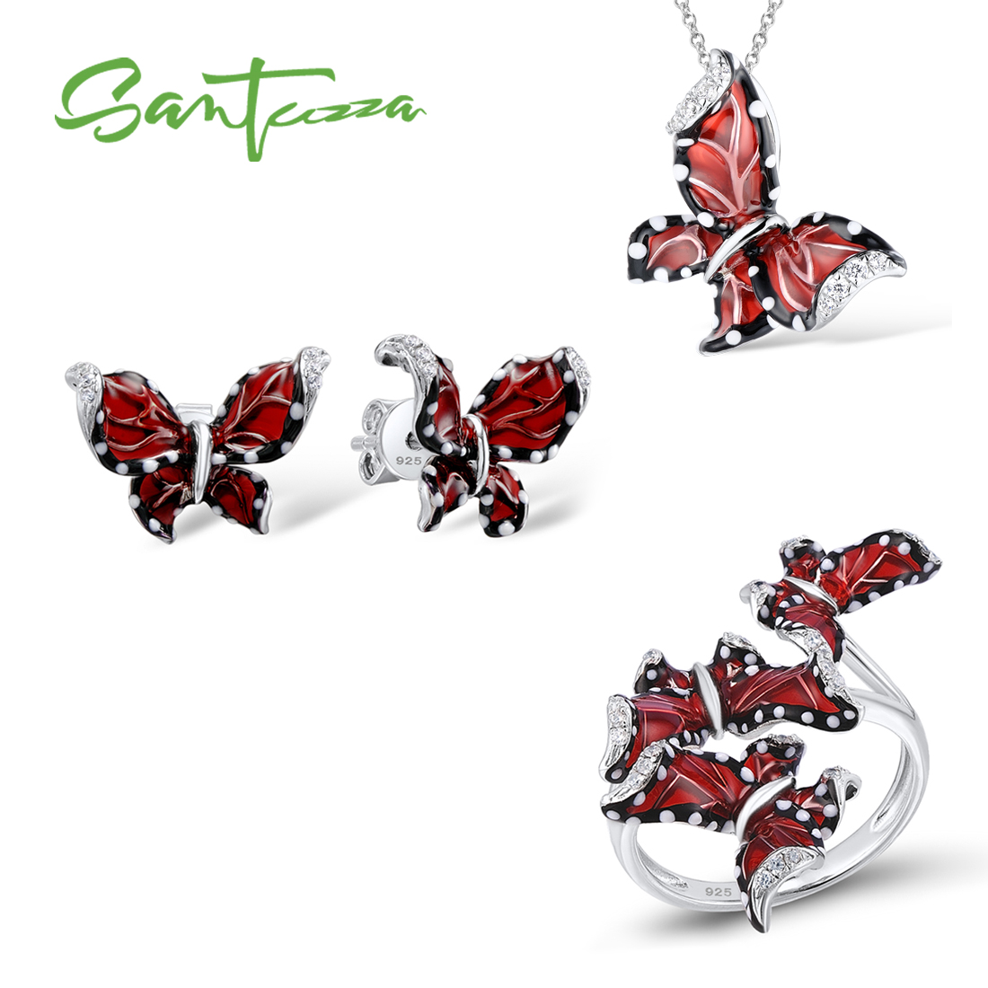 SANTUZZA Red Butterfly Jewelry Set For Woman White CZ Ring Earrings Pendant 925 Sterling Silver Fashion