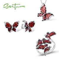 SANTUZZA Red Butterfly Jewelry Set For Woman White CZ Ring Earrings Pendant 925 Sterling Silver Fashion Jewelry HANDMADE Enamel