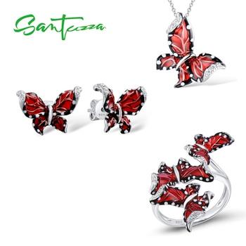 SANTUZZA mariposa roja conjunto de joyas para mujer blanco CZ anillo pendientes colgante Plata de Ley 925 joyería de moda hecho a mano esmalte