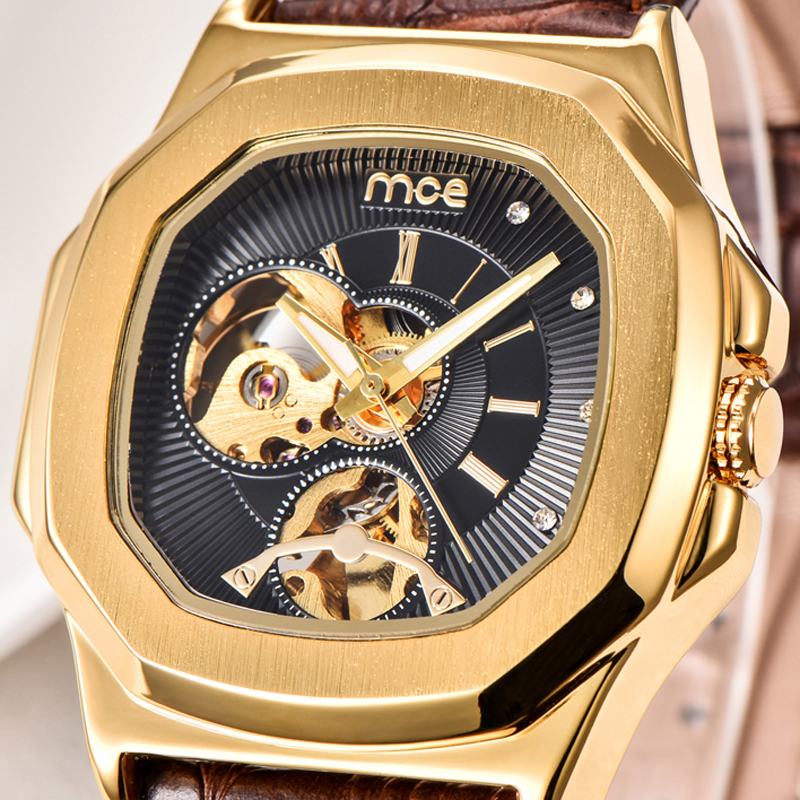 MCE Casual Fashion Skeleton Military Watch Leather Band Men Automatic Mechanical Dress Wrist Watch Luxury Antique