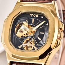 MCE Casual Esquelético Vestido Reloj Militar Banda de Cuero Mecánico Automático de Los Hombres Reloj de Pulsera de Lujo Antiguo Reloj Del Negocio