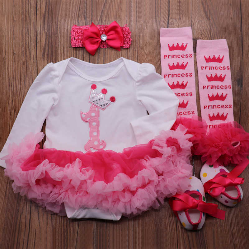 b2bcfa766177b Cartoon 1 Year Girl Baby Birthday Dress Lace Petti Romper Dress Headband  Leg Warmers Shoes Toddler Birthday Outfits Kids Clothes