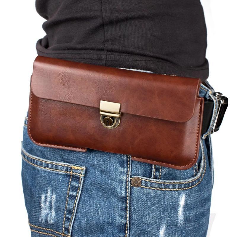 Mobile Phone Bag Leather Hanging Pockets 4.8 Waistband 5.7  Belt Bag 6.3 Inch  Protective Cover Cross Bag Wearing Belt Men Rfid